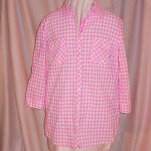 Pink Gingham Check pastel fashion top shirt blouse